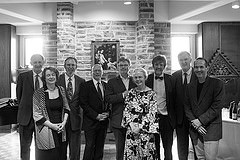 From left to right, David Ford, Sarah Coakley, Richard Hays, Jeremy Begbie, James MacMillan, Ellen Davis, Micheal O'Siadhail, Alan Torrance, Ray Barfield.