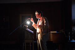 Micheal O'Siadhail performing.