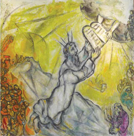 Chagall, Marc (1887-1985). Moses receives the Tablets of the Law, 1960-1966. Oil on canvas. 237 x 233 cm. MBMC12. ©2012 Artists Rights Society (ARS), New York/ADAGP, Paris
