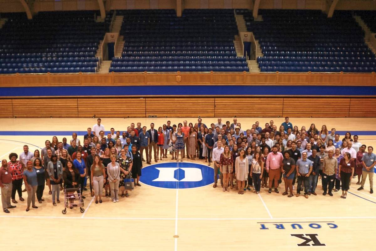 Incoming students post at Cameron Indoor Stadium