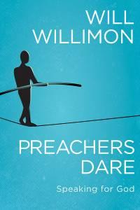 "Cover image of Will Willimon's new book ""Preachers Dare"" of someone walking a tightrope"