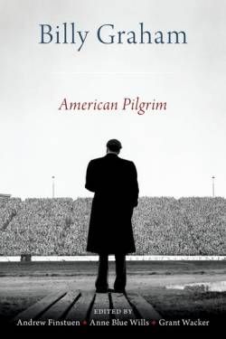 Cover image of new book on Rev. Billy Graham featuring an image of him taken from behind at a rally