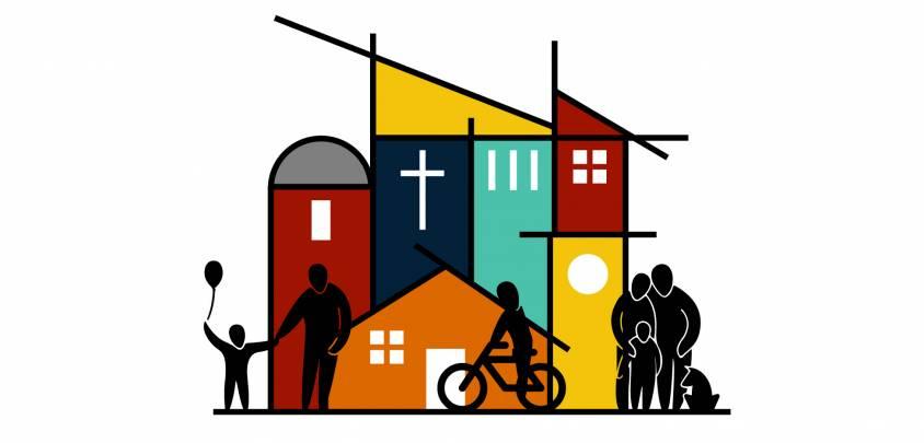 Neighboring theme logo showing stylized neighborhood design