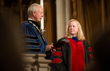 Elaine Heath and President Brodhead