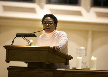 Fatimah Salleh M.Div. '15 preaches in Goodson Chapel.