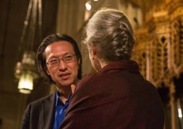 Professor Ellen Davis talks to Makoto Fujimura at the Engaging Eliot opening night.