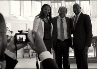 Eboni Marshall Turman, James Cone, and Raphael Warnock at the annual Martin Luther King Jr. Lecture Series.
