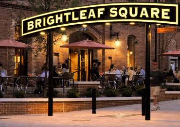 Brightleaf Square in Durham hosts shops, restaurants, and outdoor concerts. Photo by Heather Jacks and Durham Convention & Visitors Bureau.