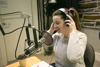 Kate Bowler in recording studio