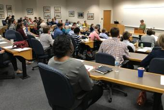 community members attend lecture in Westbrook classroom