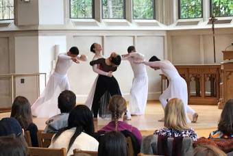 ballet dancers perform in Goodson Chapel
