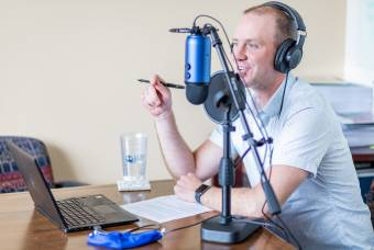 Todd Maberry recording podcast in his office
