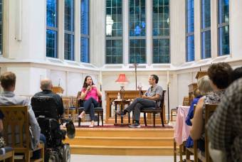 Kate Bowler and Ray Barfield talk in Goodson Chapel