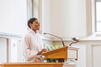 Bria Rochelle preaches in Goodson Chapel.