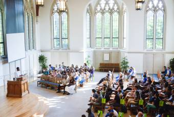 new students attend orientation in Goodson Chapel