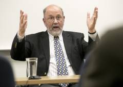Leading New Testament scholar and retired Anglican bishop N. T. Wright lectures to a classroom during his visit to Duke Divinity School.