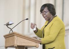 Reverend Martha Simmons preaches in Goodson Chapel.