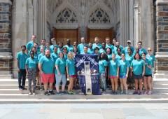 Group photo on Duke Chapel steps.