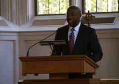 Rev. Raphael Warnock preaches at the Martin Luther King Jr. Lecture Series.