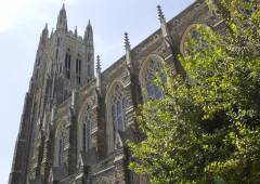 Duke Chapel, next to the Divinity School, is a Christian church of uniquely interdenominational character and purpose.