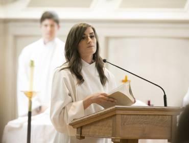 Student leading prayer