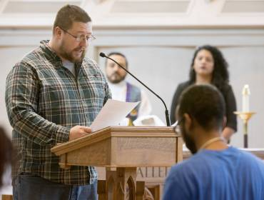 Student preaches in Goodson Chapel