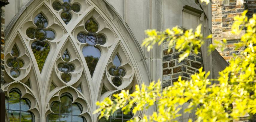Photo of windows outside the Divinity School's Westbrook building