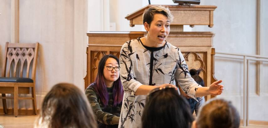 A student from the Asian Theology Group leads worship in Goodson Chapel