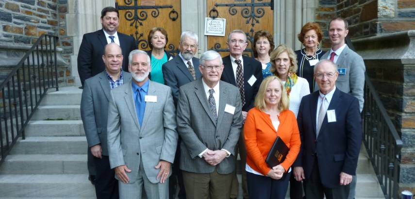 Keeese Fund representatives pose at Duke Chapel